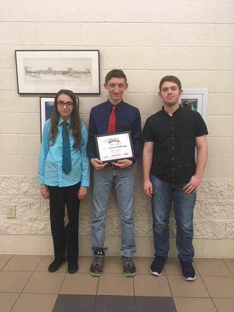 Liam Parsell, Noah Daugherty, and Gaege Seiber won Gold at the Interactivity Challenge