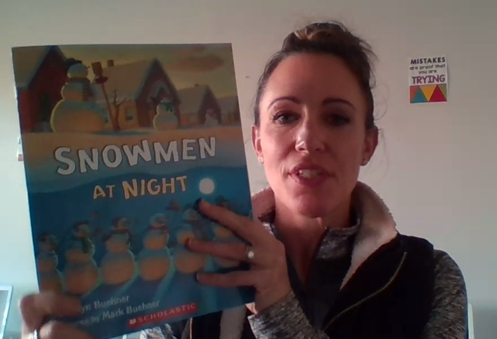 "Mrs. Weston reading ""Snowmen at Night"""