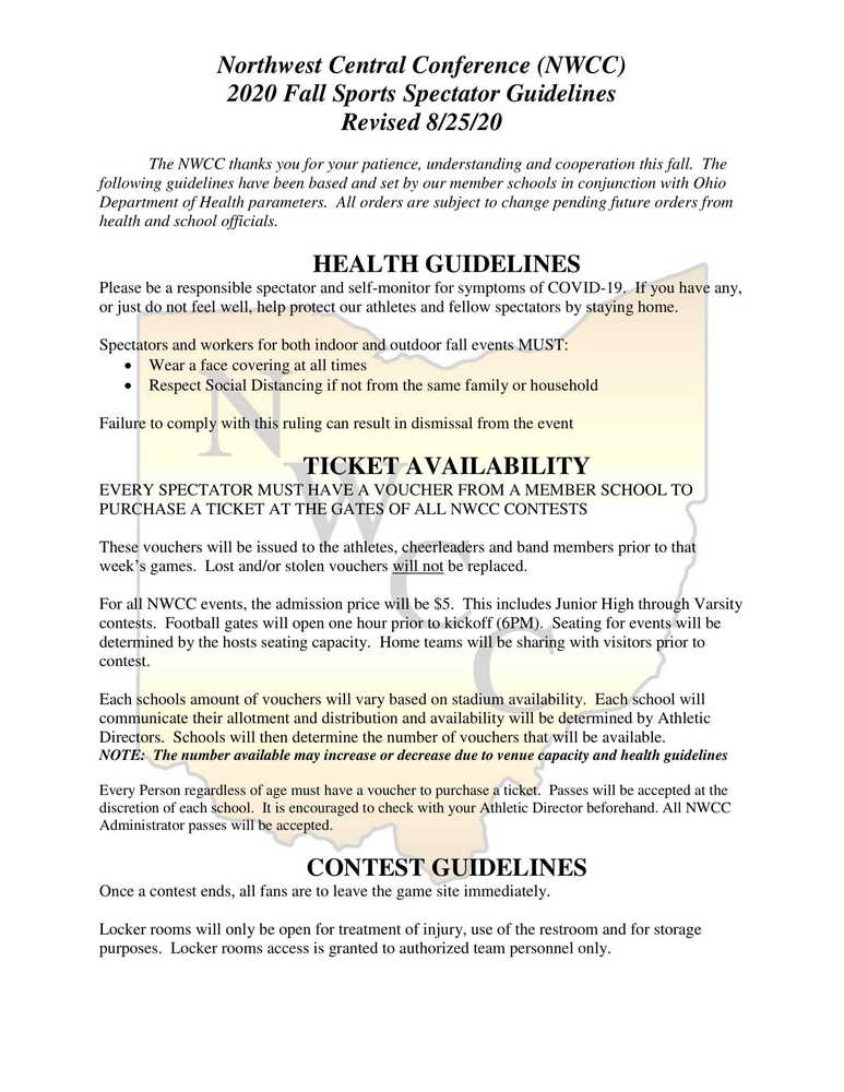 NWCC Spectator Guidelines