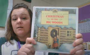 "Mrs. Campbell reading ""Christmas in the Big Woods"""