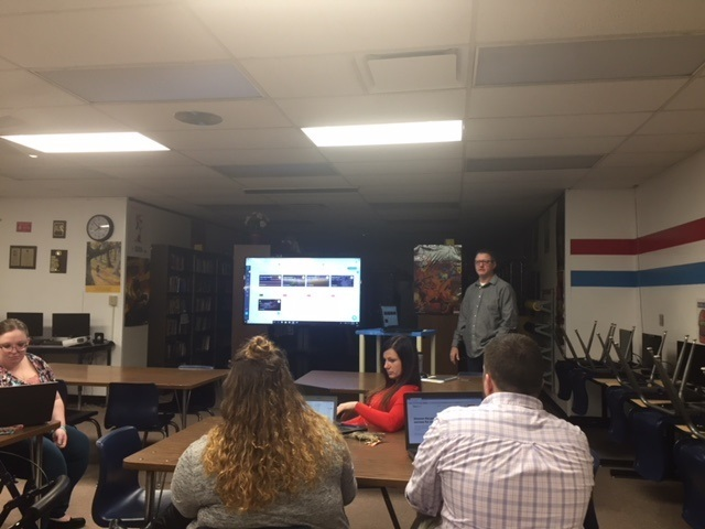 Mr. Tackett presenting Edulastic to the RHS staff