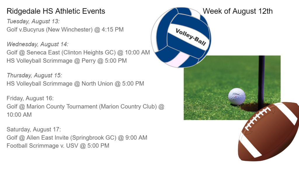 High School Schedule of Events