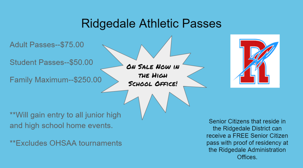 Ridgedale Athletic Passes on Sale Now!