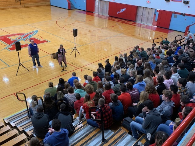 """A Blessed Tragedy"" presented to the RHS students in grades 9-12 by Amanda Watts and Jesse Schrake."
